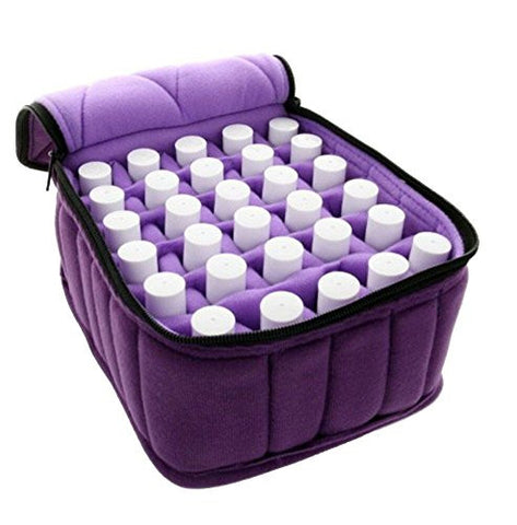FLYMEI® 30-Bottle Essential Oil Carrying Case - Oil Cases for Essential Oils - Portable Handle Bag for Travel and Home - Sturdy Zippers – Holds 5ml, 10ml, 15ml and Roll-Ons Bottles (Purple)