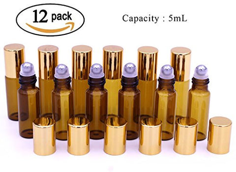Zhiliusha 5ml Roll on Glass Bottle-Set of 12 Essential Oil Roller Bottles with Stainless Steel Roller Balls, Golden Plastic Caps and Plastic Droppers for Perfume, Aromatherapy & Essential Oils