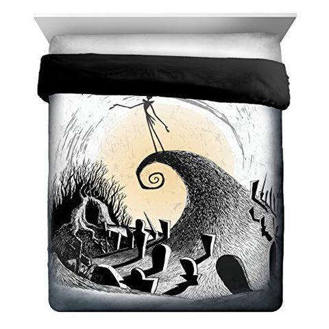 Disney Nightmare Before Christmas Jack Moonlight Madness Full/Queen Reversible Comforter, Black/White