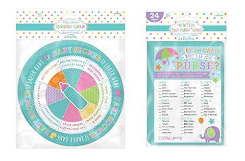 Amscan Spinner Baby Shower Game and What's in Your Purse Baby Shower Game bundled by Maven Gifts