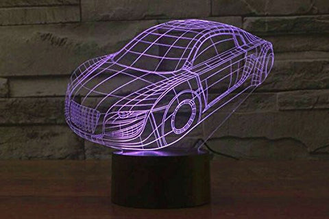 Creative 3D Glow 7 Colors Optical Illusion LED Night Lights with Unique Lighting Effect Special Visualization Home Decor (Car)