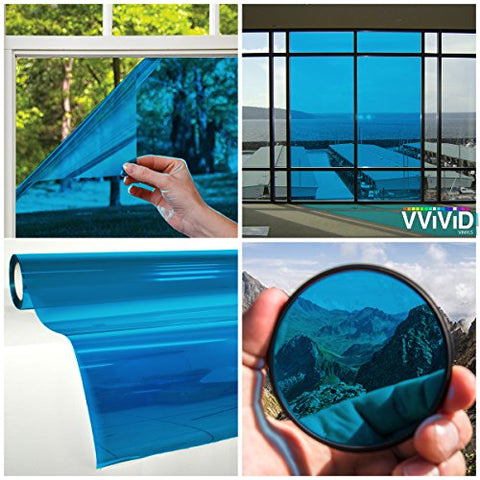 VViViD Transparent Colorful Vinyl Window Tinting Sheets (1.49ft x 5ft, Blue)