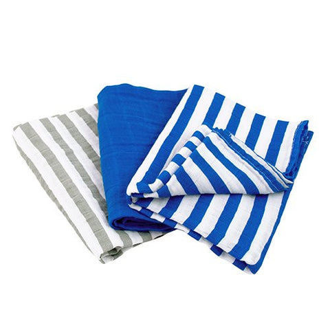 green sprouts Muslin Multi-Purpose Cloths made from Organic Cotton ,Royal Blue Set