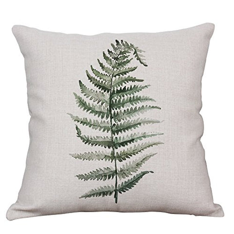 Green Fern Leaf Throw Pillow Covers Decorative Cushion Covers Square Cotton Linen Outdoor Couch Sofa Home Pillow Covers 16x16 Inch