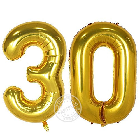 Partigos 40inch 30th Gold Number balloon Party Festival Decorations Jumbo foil helium balloons party supplies use them as Props for Photos (40inch gold number 30)
