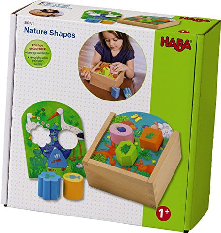 HABA Nature Shapes - Wooden Shape Sorting Box with 4 Scenes and 6 Shapes for Beginner Puzzling - Ages 1 and Up