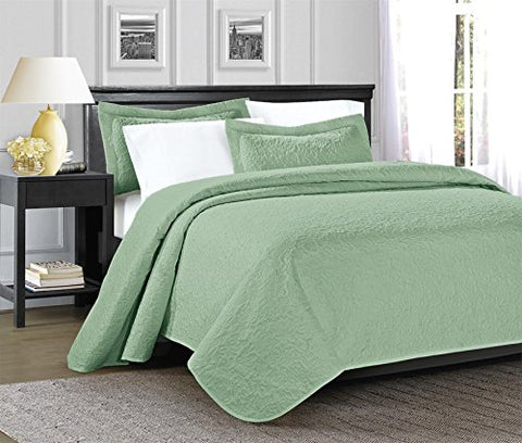 3 Piece JULES Ultrasonic Embossed Bedspread Set-Oversized Coverlet 100x106in, 118x106in (King, Sage)