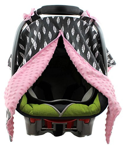 Dear Baby Gear Carseat Canopy, Feathers on Grey, Pink Minky