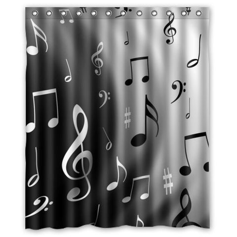 Fashionable Music Lovers Musical Notes Pattern Waterproof Polyester Fabric Shower Curtain 60  x 72