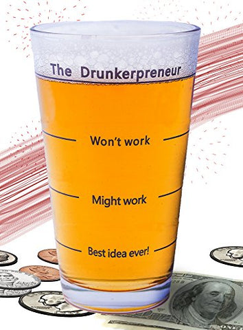 The Brainstorming Glass -  The DrunkerPreneur  Beer Mug. Father's Day Gift for Dad, Entrepreneurs, Boss, Businessman & Woman. 16 OZ Pint Glasses