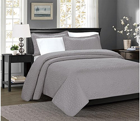 3 Piece TINOS Ultrasonic Embossed Bedspread Set-Oversized Coverlet 100x106in, 118x106in (Queen, Gray)