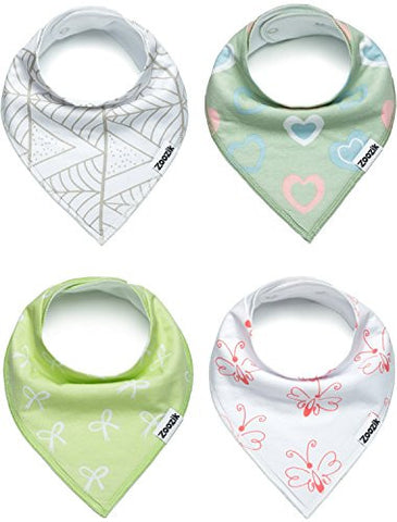 Baby Bandana Drool Bibs for Girls, Gift Set for Drooling and Teething, 100% Organic Cotton, Soft, Absorbent, Hypoallergenic - Gemma Set By Zoozik