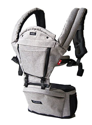 MiaMily Hipster Plus Swiss Brand - Approved by Global Wide Safety Standards - Child & Baby Front Carrier - Protection for Baby & 9 Different Uses - Fits all Sizes - Color Stone Grey