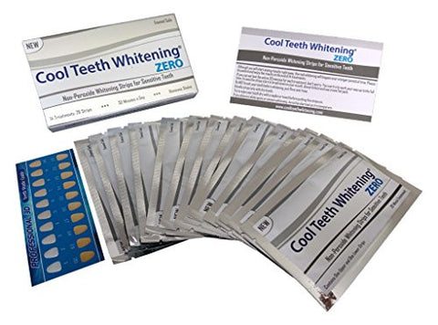 Cool Teeth Whitening Zero Peroxide Strips for Sensitive Teeth and Gums Whitener Band Kit 28 Pcs 14 Treatments 2 Week Supply Color Chart Gentle No Hp Bleach Free Instant White Tooth Non Slip Formula
