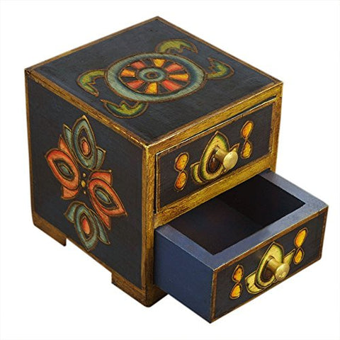 Keepsake Box Small Wooden Chest of 2 Drawers Storage Organizer Dresser Armoire Furniture with Ornate Designs