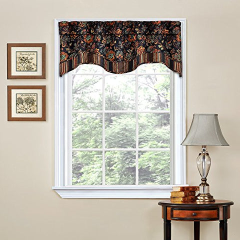 Traditions by Waverly Navarra Floral Window Valance Onyx