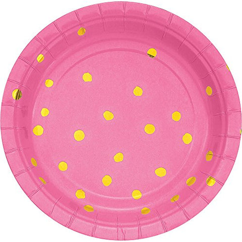 Candy Pink & Gold Hot Stamped Paper Dessert Plates (8 ct)