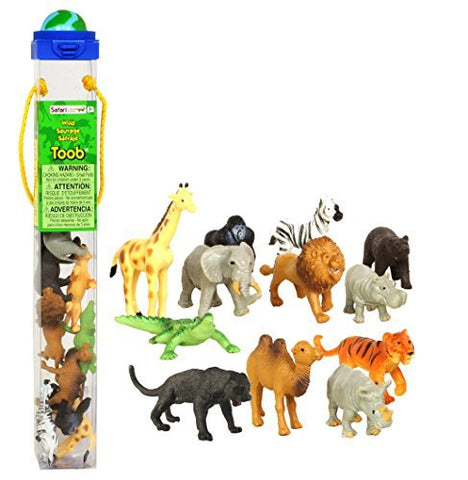 Safari Ltd Wild TOOB With 12 Great Jungle Friends, Including a Giraffe, Brown Bear, Tiger, Camel, Lion, Crocodile, Gorilla, Hippo, Rhino, Zebra, Panther and Elephant (Discontinued by manufacturer)