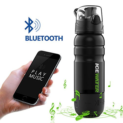2-in-1 Water Bottle+Bluetooth Speaker,Bottle Materials MADE IN USA(Tritan),100%BPA-Free,22oz,Wireless Speaker,360 Sound,Built-in Battery,Water Resistant,Hands-Free Call,Perfect Gift by ICEWATER