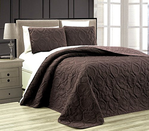 3-Piece Tropical Coast Seashell Beach KING Oversize OVERSIZE Bedspread CHOCOLATE BROWN / TAUPE Reversible Coverlet Embossed Bed Cover set. Sea Shells, Sea Horse, Starfish etc.