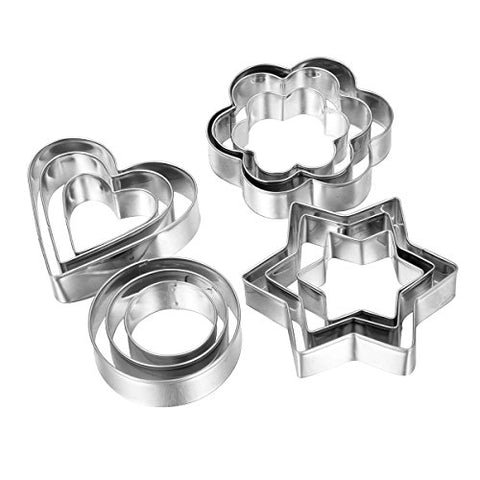 HOUSWEETY 12pcs Stainless Steel Cookie Cutter Set