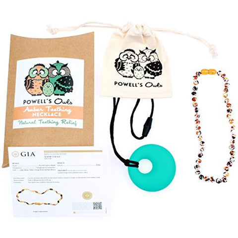Baltic Amber Teething Necklace for Babies - Lab-Tested - Comes With Silicone Teething Necklace - Mosaic Beads - 12.5 Inches