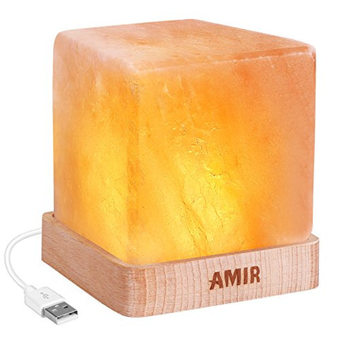 AMIR Salt Lamp, Natural Himalayan Salt Rock Lamp, Natural Glow Pink Crystal Night Light with Wood base, Elegant Design for Air Purifying, Bedroom Decoration and Lighting (UL-listed USB Cord Included)