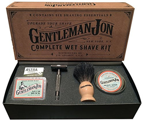 Gentleman Jon Complete Wet Shave Kit | Includes 6 Items:  Safety Razor, Badger Hair Brush, Alum Block, Shave Soap, Stainless Steel Bowl and Astra Razor Blades