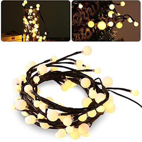 LEDGLE Flexible Patio Lights Black String Lights 9.2ft 72LEDs Ball Fairy Lights, 8 Modes,Memory Function,IP44 Waterproof,suitable for Garden,Wedding,Parties,Christmas-Warm White