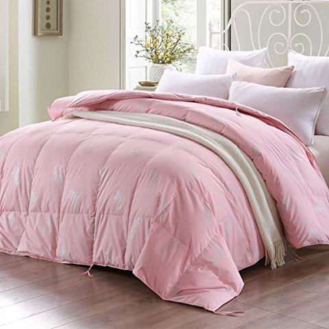 Ibestuff Down Comforter Duvert Insert,Bed Comforter Queen,100% Cotton Shell,Filling Goose Down,Box Stitched Fluffy Comforter,Pink (Queen)