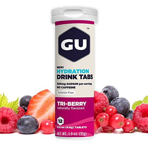 GU Hydration Electrolyte Drink Tablets, Tri-Berry, 8 Count