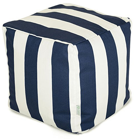 Majestic Home Goods Stripes Indoor / Outdoor Bean Bag Ottoman Pouf Cube, 17  x 17  x 17  (Navy Blue)