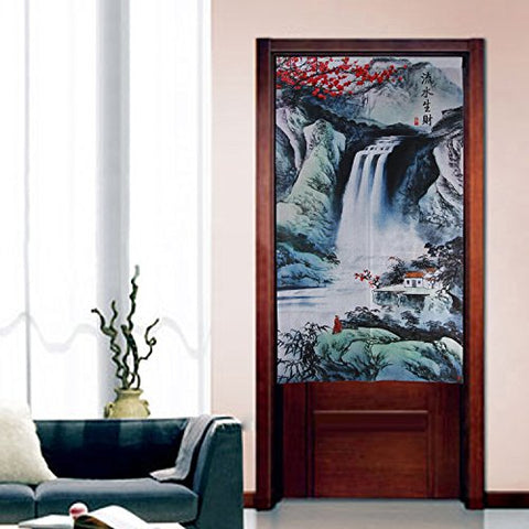 Traditional Chinese Impressionistic Ink Hills and Rivers Landscape Painting Pattern Japanese Noren Curtain Bedroom Curtain Doorway Curtain
