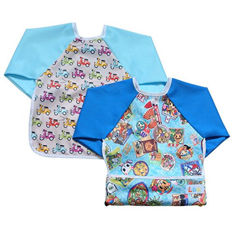 LBB Cute Waterproof Roll up Pocket Baby Bibs Smock with Long Sleeves(2pcs Pack)Fit babies 6-36 Months, Countries and Electric Scooter