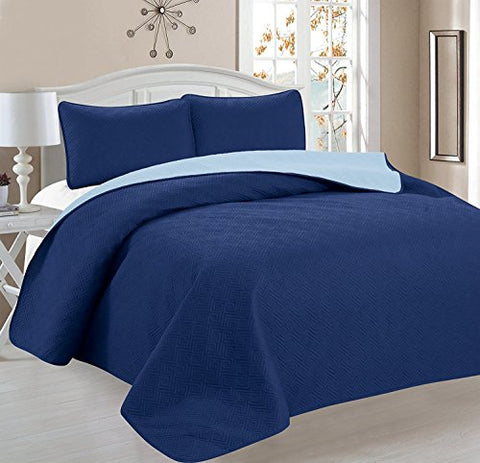 Deluxe Greek Design Reversible 3pc Coverlet Quilt Set BedSpread  FULL/QUEEN Size  Blue / Light Blue