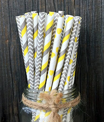 Charmed yellow and grey paper straw mix in stripe, chevron and polka design