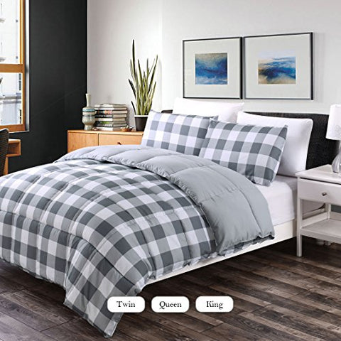 Luxe Bedding 3-PCS Reversible Down Alternative Quilted Duvet / Gingham Comforter Set - All Season Hotel Quality (King, Grey)
