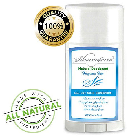 Silvanapure All Natural Deodorant Aluminum-Free UNSCENTED For Men & Women 2.5 oz - Non-Toxic Healthy Deodorant - All Day Protection