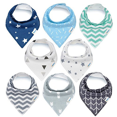 Baby Bandana Drool Bibs, Unisex Gift Set for Drooling and Teething, 100% Organic Cotton, Soft and Absorbent, Hypoallergenic - for Boys and Girls by KiddyStar