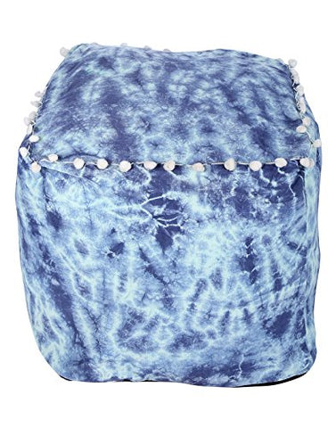 Trendy Ottoman Blue Cotton Floral Tie Dye Pouf Cover For Home Decor By Rajrang