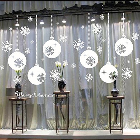 BIBITIME Merry Christmas Sayings 6 Hanging Balls Wall Sticker Shinning Stars Snowflakes Window Decor for Home Showcase Coverings Decals