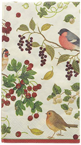 Entertaining with Caspari Entertaining Winter Birds Guest Towels