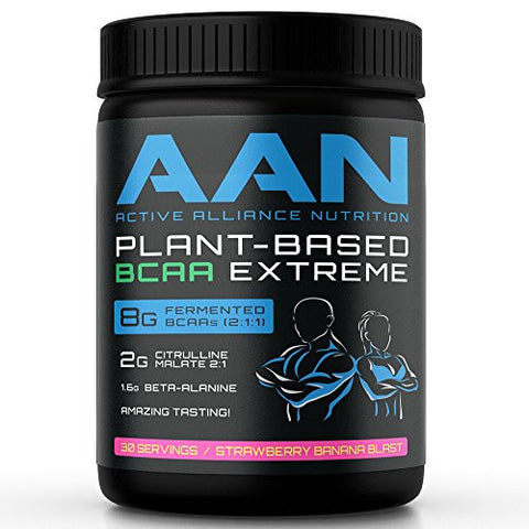 AAN's Fermented Plant Based BCAA Powder- 8g of Instantized, Vegan Friendly, Natural BCAAs with Stevia, Citrulline Malate, Beta Alanine for Preworkout, Post workout, Intra Workout Recovery and Protein