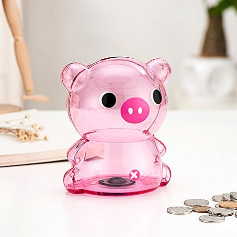 Girlwill Crystal Clear Piggy Bank Pink Coin Box with Suede Drawstring Bag for Adults & Girls 5.5 4 4.4  [Food Grade Plastic]