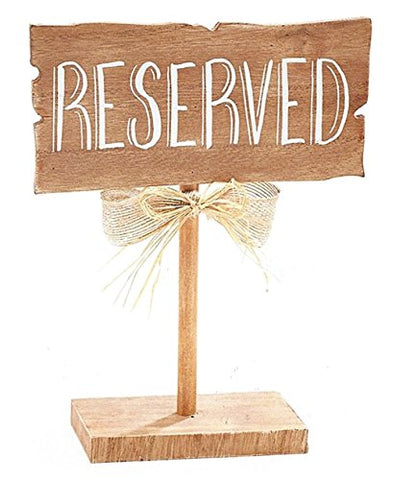 BNB Table Top Dcor Reserved Sign Wooden Guest Seating Marker Plaque on Stand at 10 in Tall x 7.75 in L x 3 in D Natural Woodgrain Brown, Chalk White Wording Burlap and Raffia Bow on Post, 1 per order