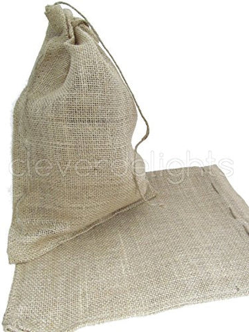 CleverDelights 10 x 14 Burlap Bags with Natural Jute Drawstring - - Large Burlap Pouch Sack Favor Bag for Showers Weddings Parties and Receptions - 10x14 inch