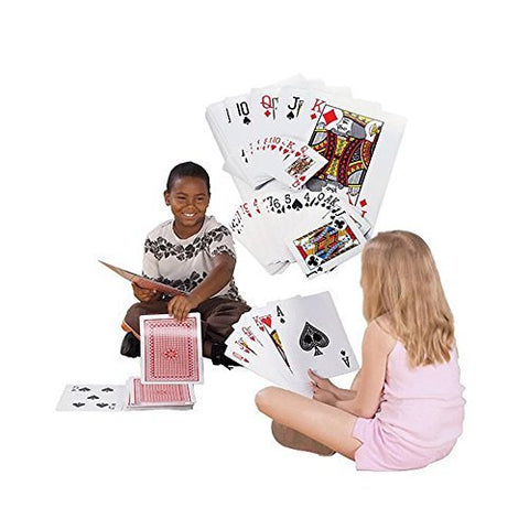 Giant Jumbo Deck of Big Playing Cards Fun Full Poker Game Set - Measures 8-1/4 x 11-3/4