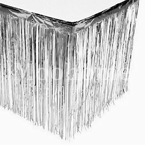 Moohome Metallic Foil Fringe Silver Table Skirt 9ft. x 29inch Tinsel Party Table Skirt 108  x 29  (1-Pack, Silver)