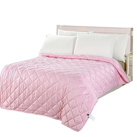 NATURETY Thin Comforter for Summer,Light Weight Filled Quilt (twin, pink)