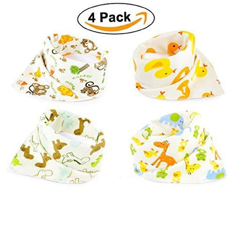 DHnewsun Bandana Baby Bibs Cute Zoo Fun For Girls and Boys 100% Cotton Super-Stylish Anti-Smell Anti-Bacterial Quick Dry Avoids Drool Rash with Nickel-Free Snaps, Best for Sensitive Skin